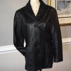 100% Leather Black Jacket - excellent Vintage Cond